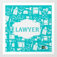 lawyer Art Prints featuring Turquoise Lawyer   by Be Raza