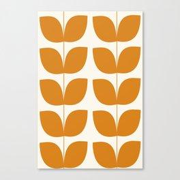 Mid Century Modern Leaves Orange Canvas Print