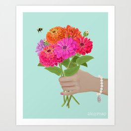 Be Kind Hand Giving Zinnia Flower Bouquet with Bumble Bee Art Print