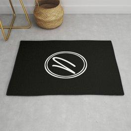 Monogram - Letter U on Black Background Rug