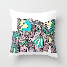 Momma Bear and Cubs Throw Pillow