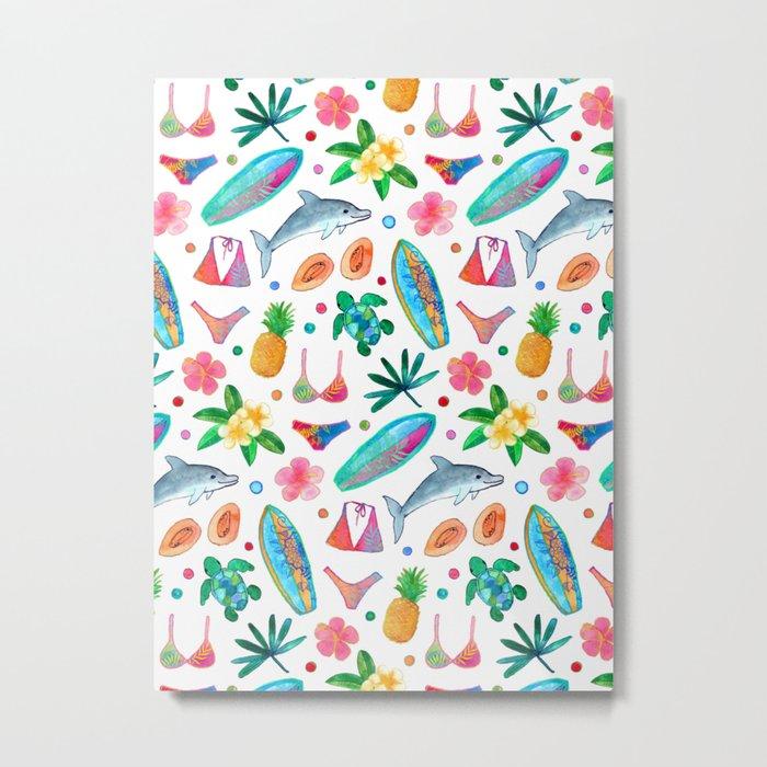Dotty Summer Beach Pattern Metal Print