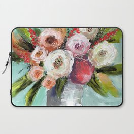 Peach and White Roses Laptop Sleeve