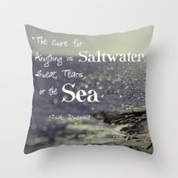 the cure Throw Pillows featuring Saltwater Cure by ShadeTree Photography