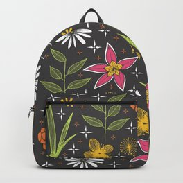 bright retro floral print Backpack