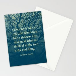 Tree of Character VINTAGE BLUE / Deep thoughts by Abe Lincoln Stationery Cards