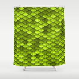 Beautiful Key Lime green mermaid fish Scales Shower Curtain