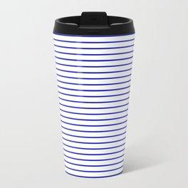 White and Royal Blue Nautical Horizontal Stripes Travel Mug