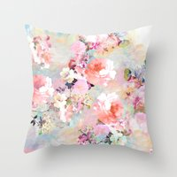 watercolor Throw Pillows featuring Love of a Flower by Girly Trend