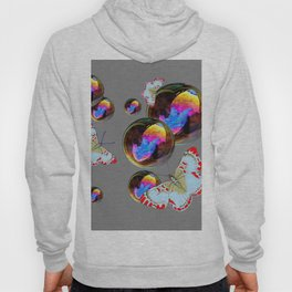 SURREAL WHITE-RED BUTTERFLIES & BUBBLES Hoody