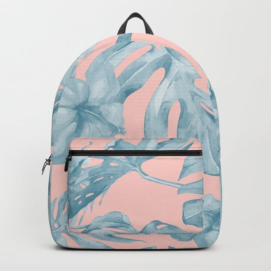 Island Life Pale Teal Blue on Millennial Pink Backpack