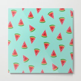 Watermelon Slices Green Pattern Metal Print