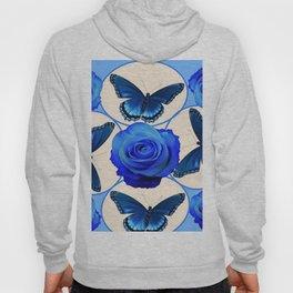 BLUE ROSES & BLUE BUTTERFLIES MODERN ART Hoody