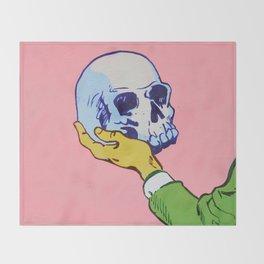 Man Holding Skull Throw Blanket
