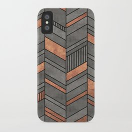 Abstract Chevron Pattern - Concrete and Copper iPhone Case