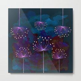 luminous dandelions on petrol blue Metal Print