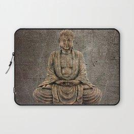 Sitting Buddha On Distressed Metal Background Laptop Sleeve
