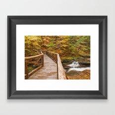 Autumn Boardwalk Bridge Framed Art Print