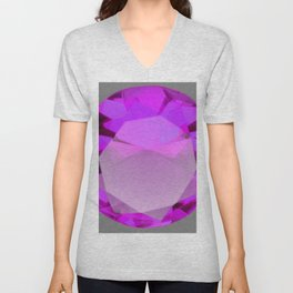 Decorative PURPLE FEBRUARY AMETHYST GEMSTONE  ON GREY Unisex V-Neck