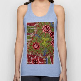 Aboriginal Art Authentic- Connections Unisex Tank Top