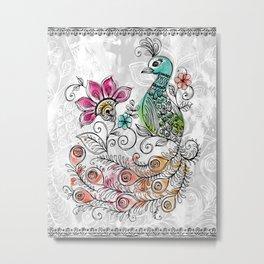 Peacock Doodle Metal Print