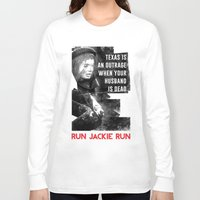 jfk Long Sleeve T-shirts featuring Misfits JFK Poster Series - Your Husband is Dead by Robert John Paterson