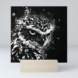 burrowing owl splatter watercolor black white Mini Art Print