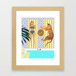 How To Vacay With Your Tiger #illustration Framed Art Print