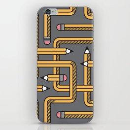 Pencil Maze Pattern pastel grey yellow iPhone Skin