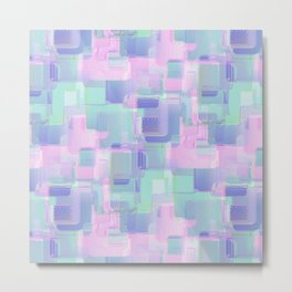 Abstraction. Pink and blue brush strokes. Metal Print