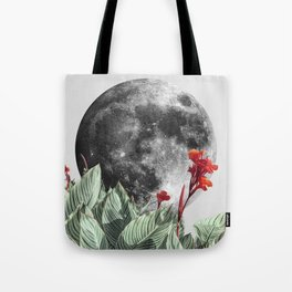 Full Moon and Tropical Leaves Quote | Make it happen | Night Sky Tote Bag