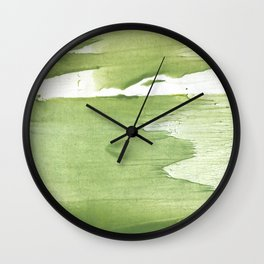 Green khaki clouded wash drawing texture Wall Clock