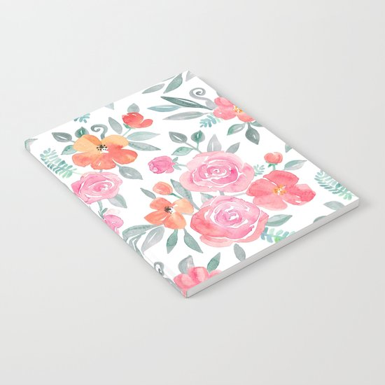 Amelia Floral in Pink and Peach Watercolor Notebook