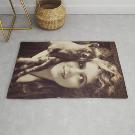 Mary Pickford - Vintage Lady with kitten Rug