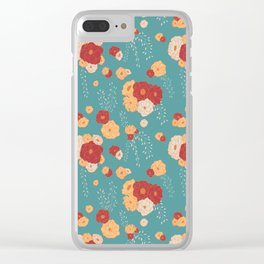 Anemone Floral Bouquets on Blue Clear iPhone Case