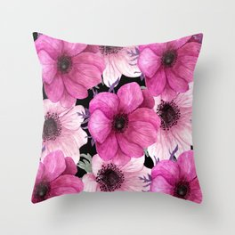 Elegant Floral Pageantry in Pretty Pink Pattern Throw Pillow