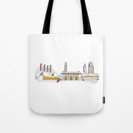 Kansas City Skyline Illustration in KC Football Colors Tote Bag