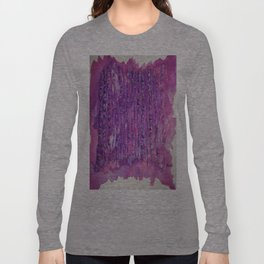 Deep Purple Abstract Aspen Tree Watercolor Painting Long Sleeve T-shirt