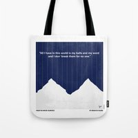 scarface Tote Bags featuring No158 My SCARFACE minimal movie poster by Chungkong