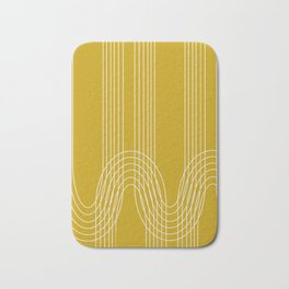 Curves and Line in Golden Mustard Yellow Bath Mat