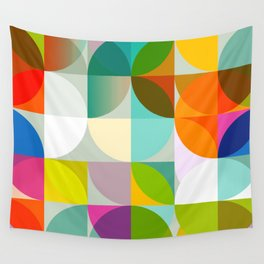mid century geometry vibrant colors Wall Tapestry