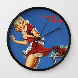 Fresh Lobster! - Satirical Pin Up Girl Waitress Motif Wall Clock