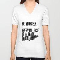 oscar wilde V-neck T-shirts featuring Oscar Wilde: Be Yourself by Danielle Denham