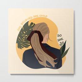 Lady with Hair Tie Metal Print