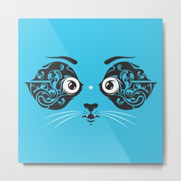 Cat face close-up Metal Print