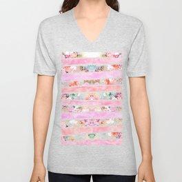Modern floral watercolor girly pastel pink stripes Unisex V-Neck