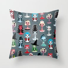 Spooky Dolls Pattern Throw Pillow