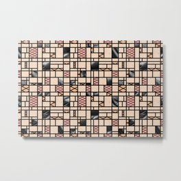 Modern Art Fishnets Skin and Leather Grid Pattern Metal Print
