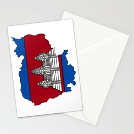 Cambodia Map with Cambodian Flag Stationery Cards