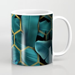 tropical banana leaves geometry Coffee Mug